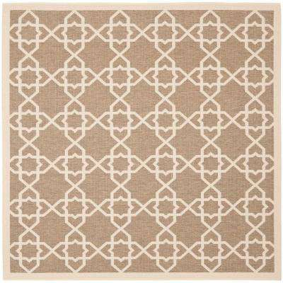 Courtyard Brown/Beige 8 ft. x 8 ft. Indoor/Outdoor Square Area Rug