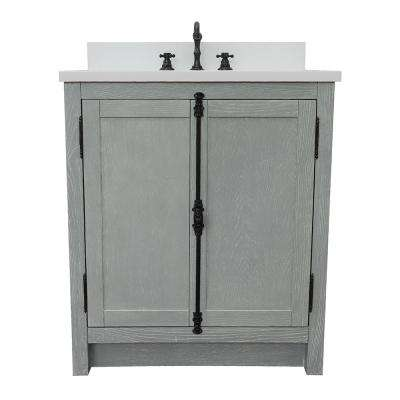 Plantation 31 in. W x 22 in. D Bath Vanity in Gray with Quartz Vanity Top in White with White Oval Basin