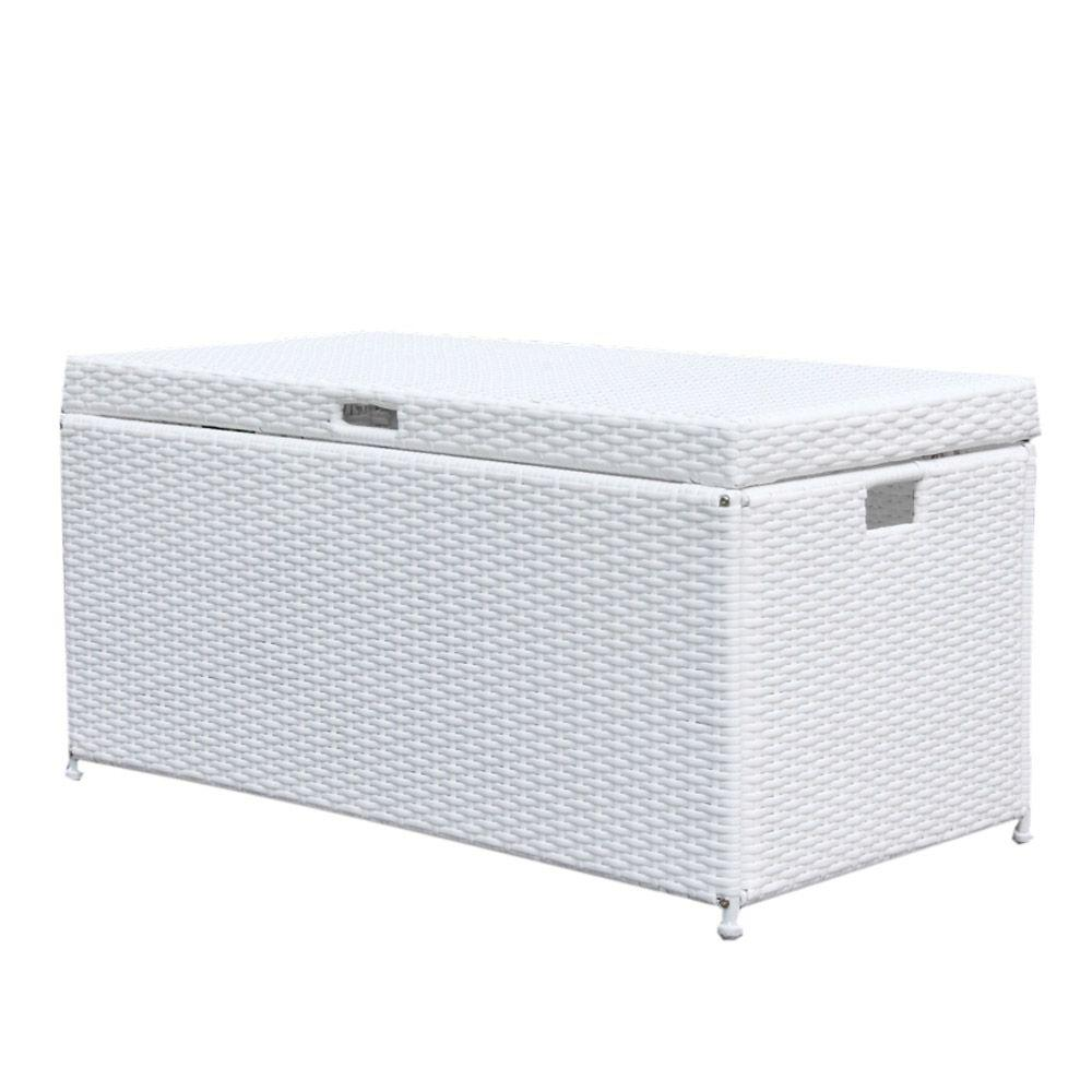 Jeco White Wicker Patio Furniture Storage Deck Box