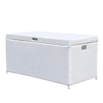 White Wicker Patio Furniture Storage Deck Box
