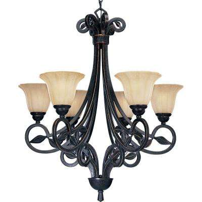 Le Jardin Collection 6-Light Espresso Chandelier with Shade