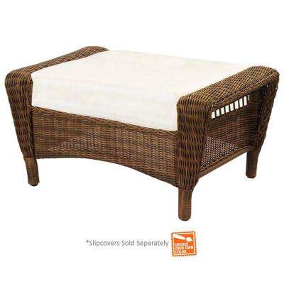 Spring Haven Brown Wicker Outdoor Patio Ottoman with Cushions Included, Choose Your Own Color