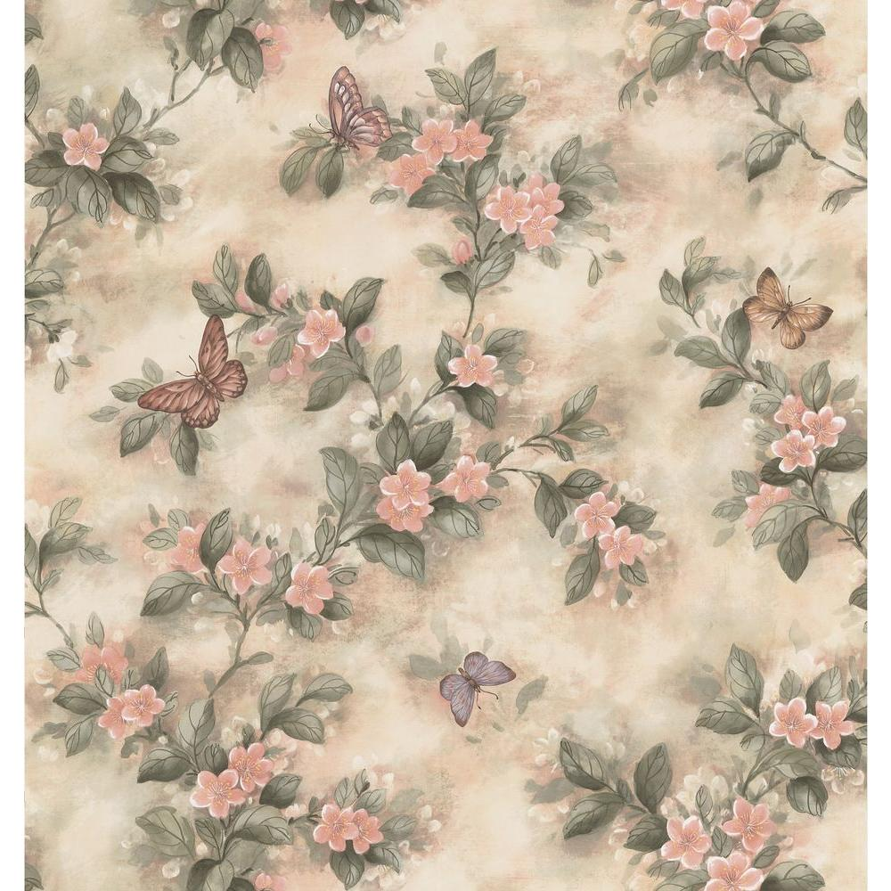 Kitchen Bath Bed Resource III Pastel Butterfly Floral Wallpaper Sample