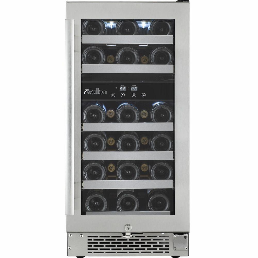 Avallon 28-Bottle Dual Temperature Zone Built-In Wine Cooler with Argon Filled Double Paned Glass