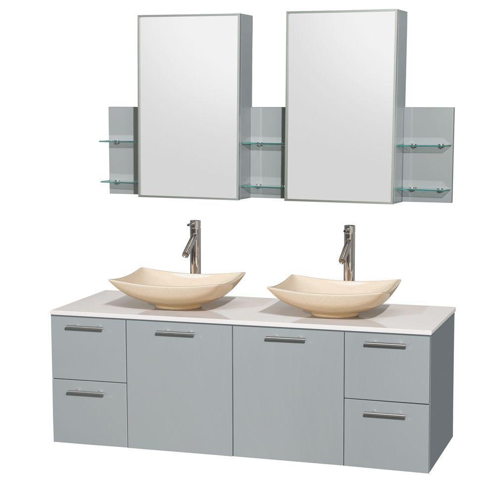 Vanity Gray Surface Vanity Top White Ivory Basins Cab Mirror