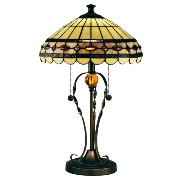 23.75 in. Tiffany Bronze Table Lamp with Hand Rolled Art Glass