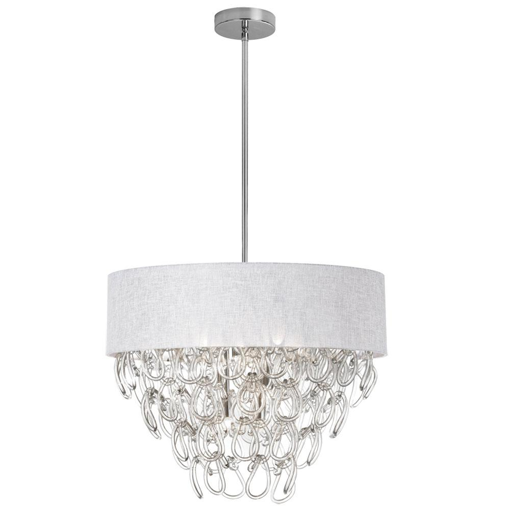 6-Light Polished Chrome Chandelier with White Linen Shade