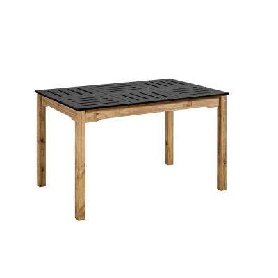Stillwell 47.25 in. Black and Natural Wood Rectangular Table