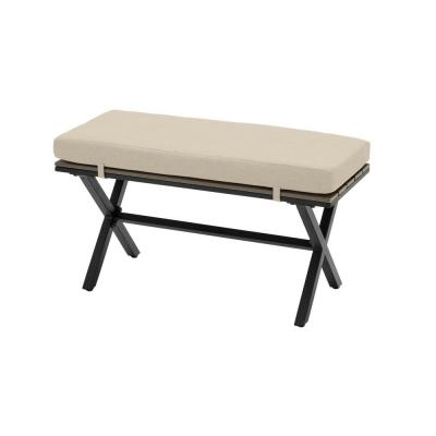 Laguna Point Brown Steel Wood Top Outdoor Patio Bench with CushionGuard Putty Tan Cushions