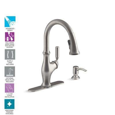 Worth Single-Handle Pull-Down Sprayer Kitchen Faucet in Vibrant Stainless