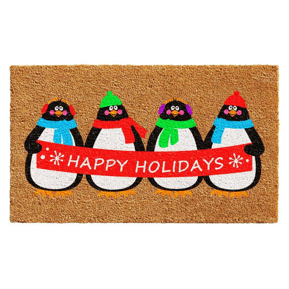 Holiday Penguines 17 in. x 29 in. Coir Door Mat