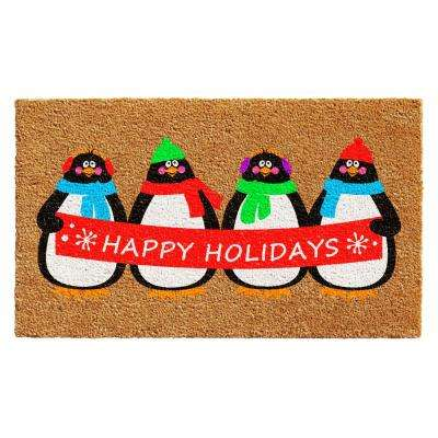 Holiday Penguines 17 in. x 29 in. Coir Door Mat