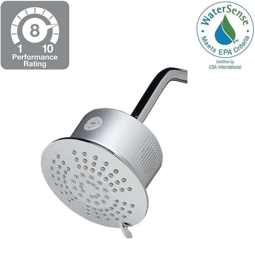Home Netwerks 5-Spray 6 in. Showerhead with Bluetooth Speaker in Chrome