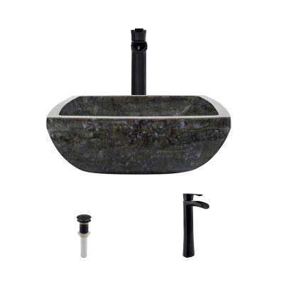 Stone Vessel Sink in Butterfly Blue Granite with 731 Faucet and Pop-Up Drain in Antique Bronze