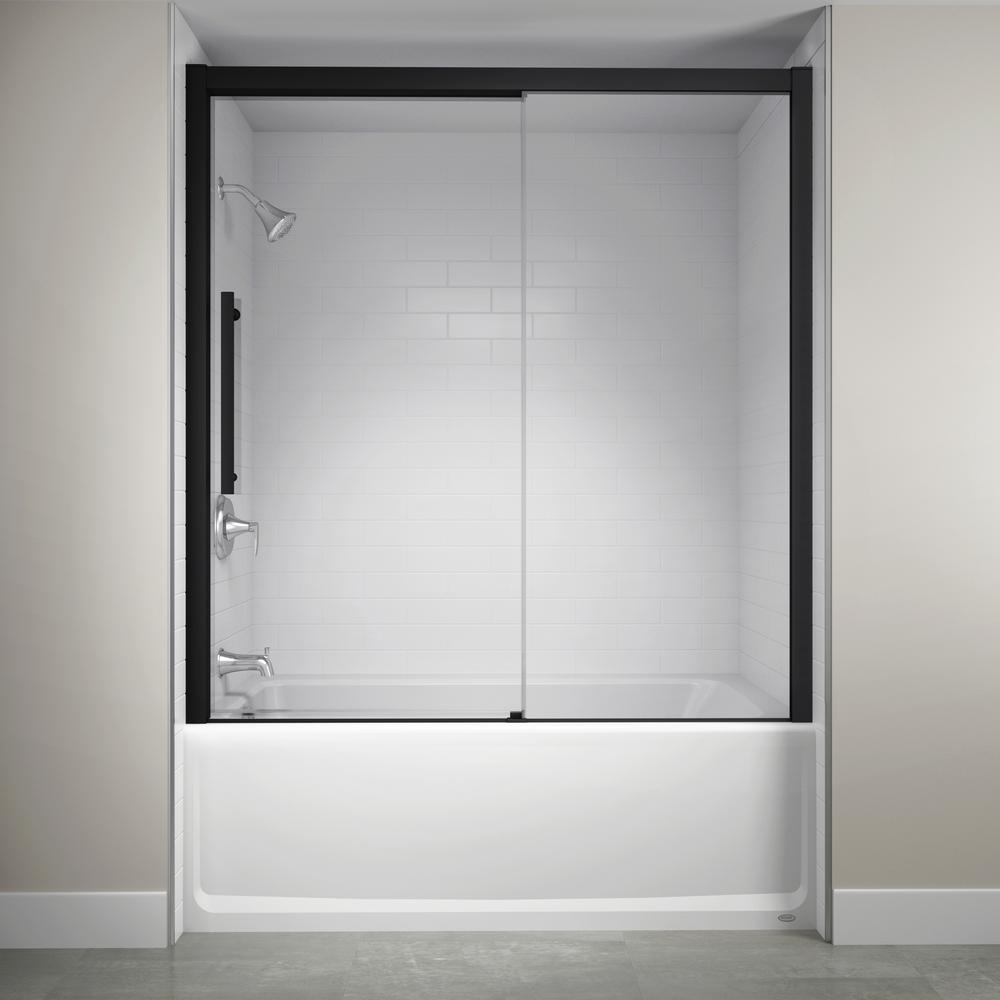 60 in. x 59 in. Semi-Frameless Concealed Sliding Shower Door in Matte Black