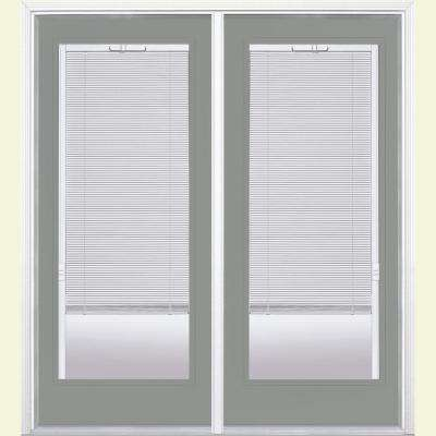 72 in. x 80 in. Silver Cloud Prehung Right-Hand Inswing Mini Blind Steel Patio Door with Brickmold