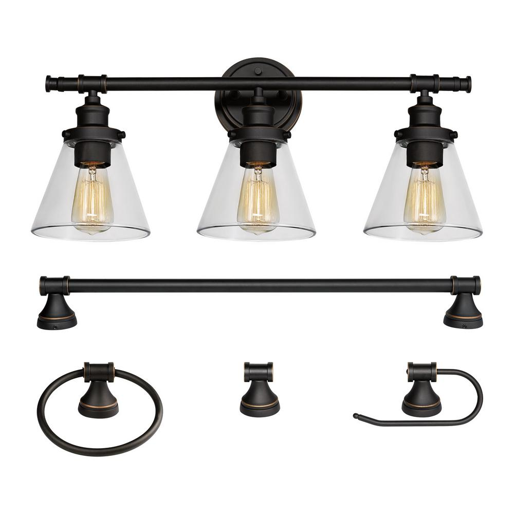Globe Electric Parker 3 Light Oil Rubbed Bronze 5 Piece