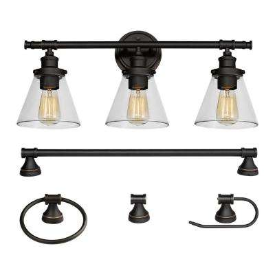 Bronze vanity lighting lighting the home depot parker 3 light oil rubbed bronze 5 piece all in one bath aloadofball Choice Image