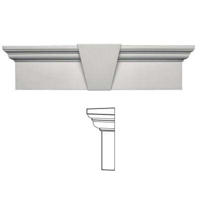 9 in. x 33-5/8 in. Flat Panel Window Header with Keystone in 030 Paintable