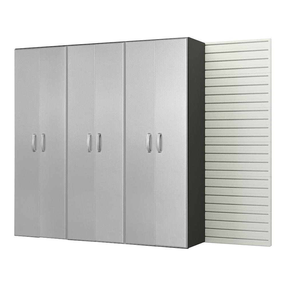 Modular Wall Mounted Garage Cabinet Storage Set In White/Platinum Carbon  Fiber (3