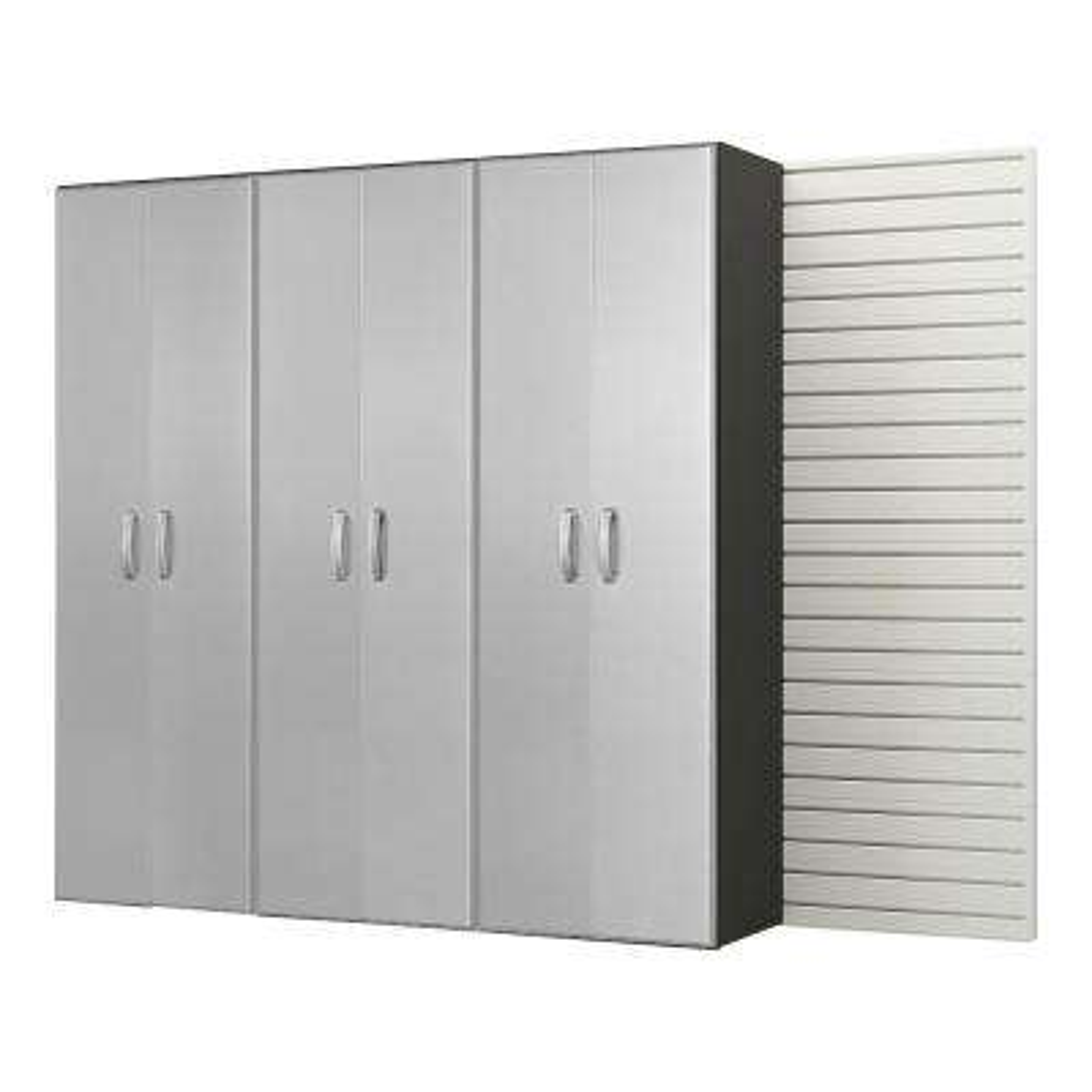 Modular Wall Mounted Garage Cabinet Storage Set in White/Platinum Carbon Fiber (4-Piece)