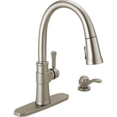 Spargo Single-Handle Pull-Down Sprayer Kitchen Faucet with Soap Dispenser in SpotShield Stainless