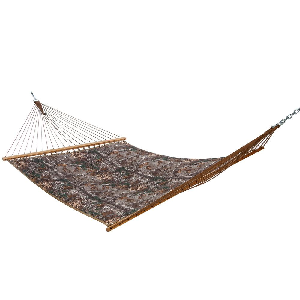 Castaway 13 ft. Quilted Real Tree Hammock, Green