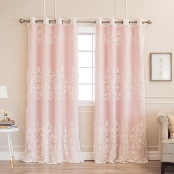 Best Home Fashion 84 In L Umixm Sheer Agatha And Blackout Curtains In Light Pink 4 Pack Mm Sil Agata Gs 84 L Pink The Home Depot