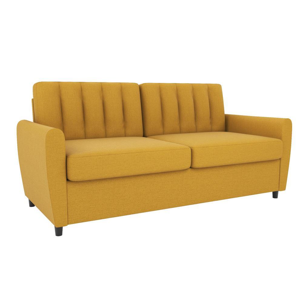Brittany 32.5 W Mustard Linen Sleeper Sofa with Memory Foam Queen Mattress