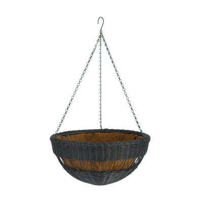 17 in. Black Resin Wicker Hanging Basket