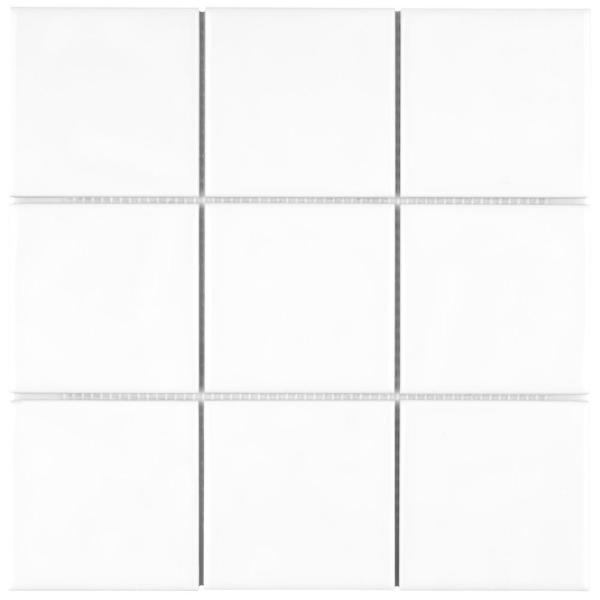 Twist Square White Ice 11-3/4 in. x 11-3/4 in. Ceramic Mosaic (9.79 sq. ft. /Case)