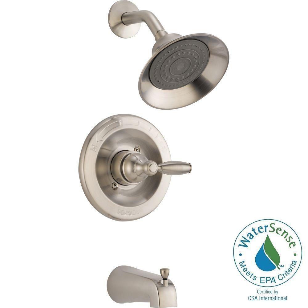 Peerless Single-Handle 1-Spray Tub and Shower Faucet in Brushed Nickel