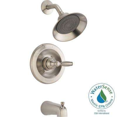 1spray tub and shower faucet in brushed nickel