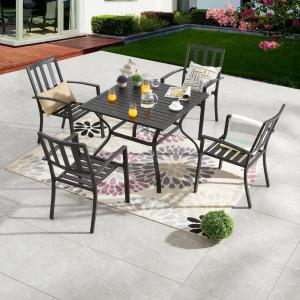 5-Piece Metal Round Outdoor Dining Set
