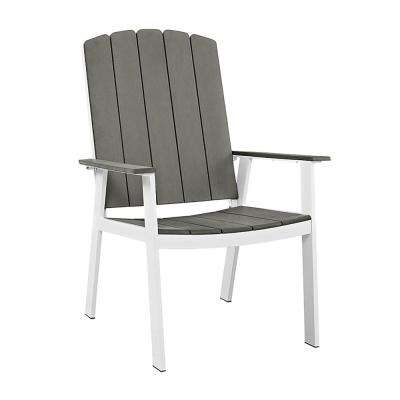 Coastal Grey/White Metal and Wood Outdoor Dining Chairs (Set of 2)