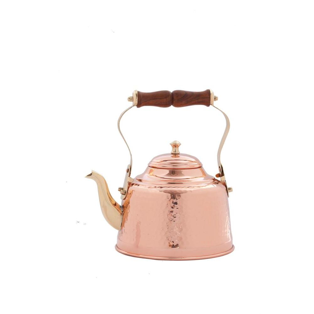 Old Dutch 2 qt. Solid Copper Hammered Tea Kettle with Wood Handle-DISCONTINUED
