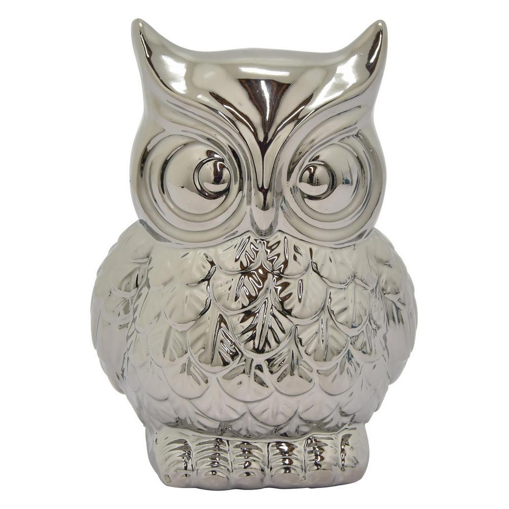 8 in. Ceramic Owl Money Bank Silver