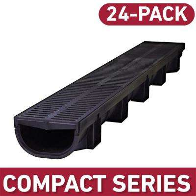 Compact Series 5.4 in. W x 3.2 in. D 39.4 in. L Trench and Channel Drain Kit w/ Black Grates (24-Pack : 78.8 ft)