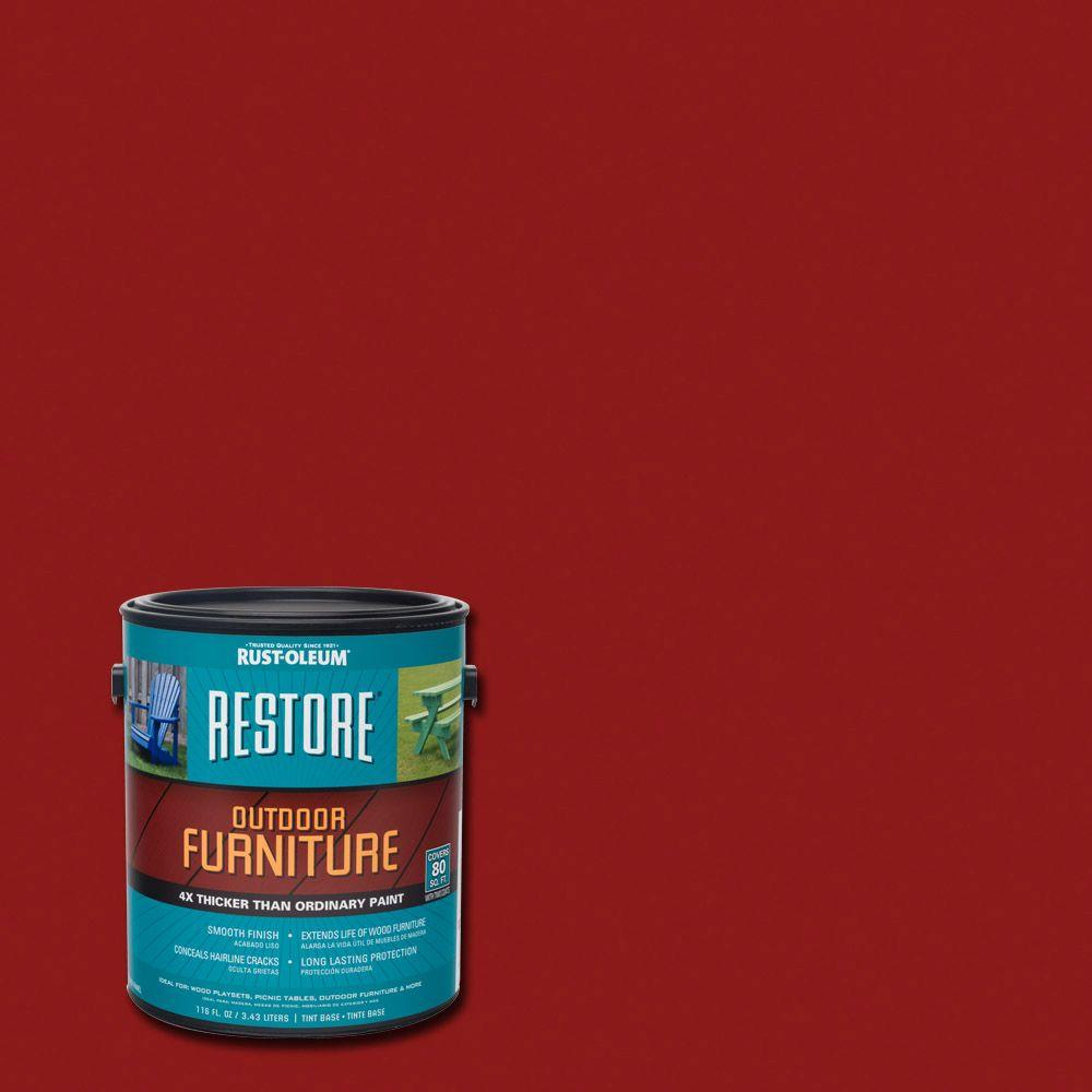 Rust Oleum Restore 1 Gal Colonial Red Outdoor Furniture Exterior Solid Stain 291276 The Home