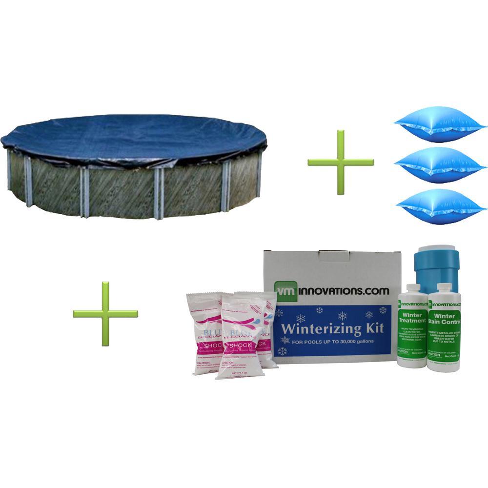 Swimline 28 ft. x 9 ft. Round Pool Cover Plus Three 4 ft. x 4 ft. Air Closing Pillows Plus Winterizing Kit