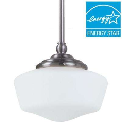 Academy 1-Light Brushed Nickel Pendant  sc 1 st  The Home Depot : school house pendant light - azcodes.com