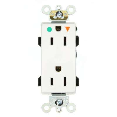Decora Plus 15 Amp Hospital Grade Extra Heavy Duty Isolated Ground Duplex Outlet, White