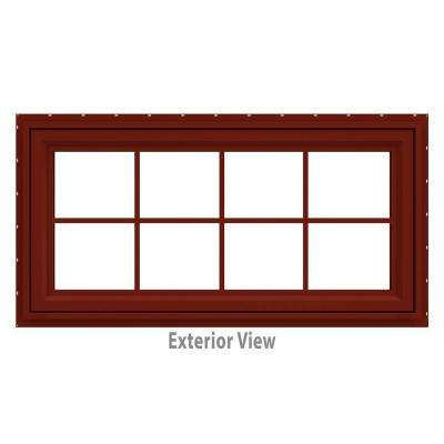 47.5 in. x 23.5 in. V-4500 Series Red Painted Vinyl Awning Window with Colonial Grids/Grilles