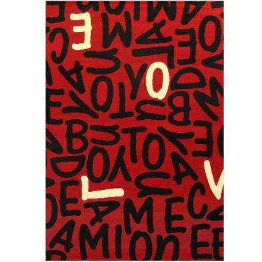 Terra Jumble Love Red 3 ft. 9 in. x 5 ft. 6 in. Area Rug