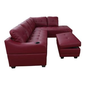 Bill Red Right Facing Sectional Sofa with Ottoman