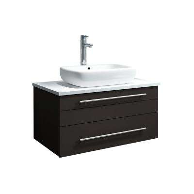 Lucera 30 in. W Wall Hung Bath Vanity in Espresso with Quartz Stone Vanity Top in White with White Basin