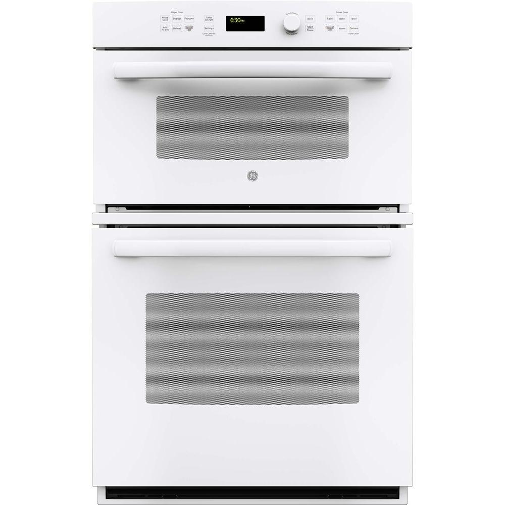 GE 27 in. Double Electric Wall Oven with Built-In Microwave in White