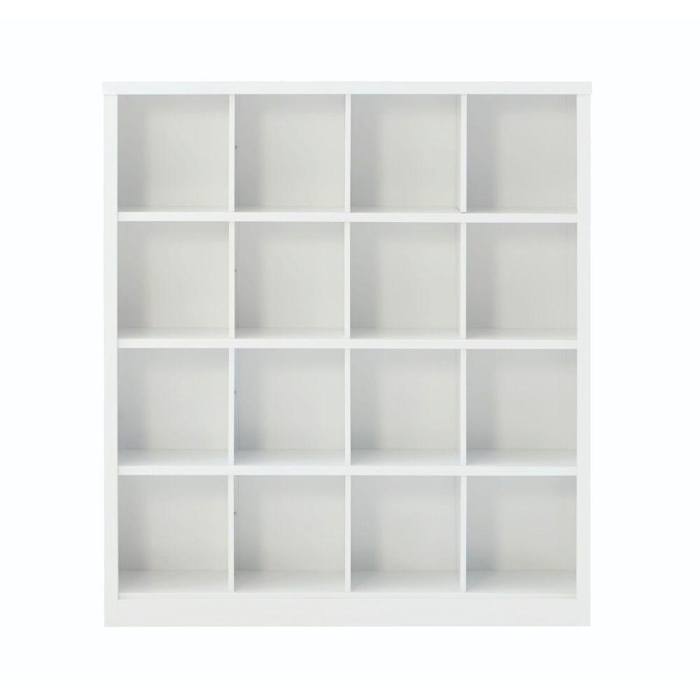 Lachlan 53.25 in. x 60 in. White 16-Cube Storage Organizer