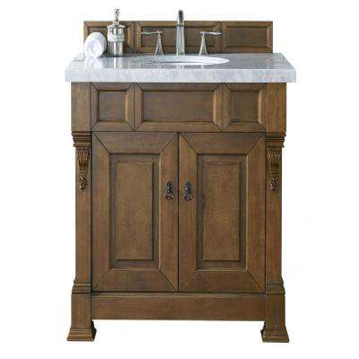 Brookfield 36 in. W Single Vanity in Country Oak with Marble Vanity Top in Carrara White with White Basin