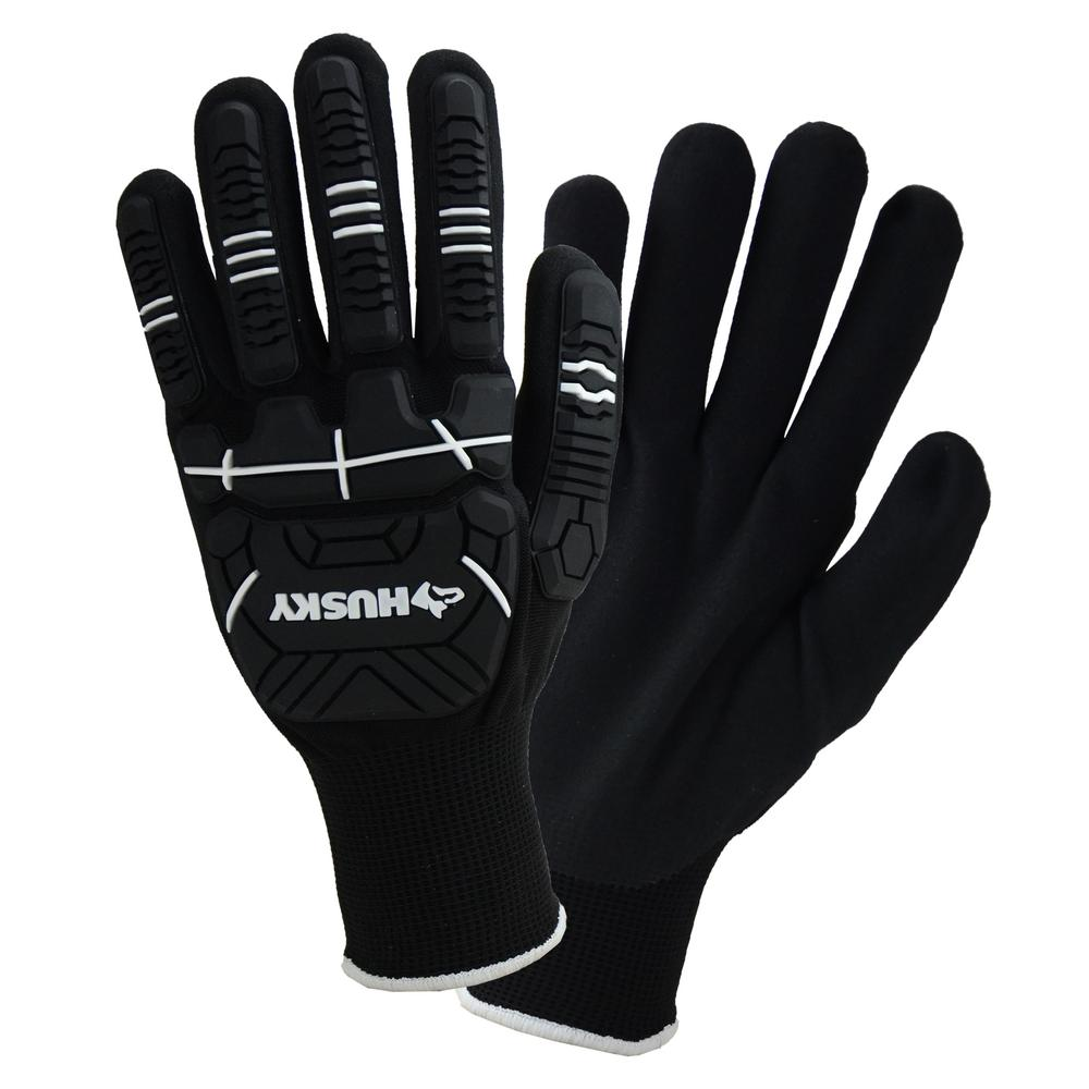 HUSKY Husky Medium Dipped Impact Glove, Adult Unisex, Black